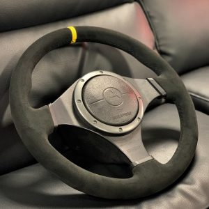 Mitsubishi Evo 8MR/ Evo 9 – OEM Steering Wheel – Black Alcantara – Black Stitching – Yellow Centre Stripe