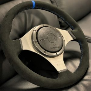 Mitsubishi Evo 7/8 – OEM Steering Wheel – Black Alcantara – Blue Stitching